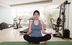 Asian woman yoga stock images