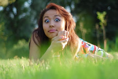 Asian womanl in a field Stock Photo
