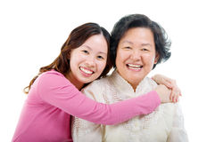 Asian women. Asian senior women and daughter stock images