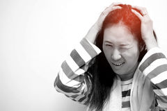 Asian women are aching. Asian woman are aching after a shower royalty free stock photo