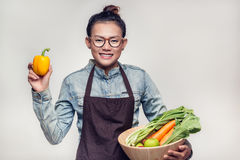 Asian women are admired. Asian woman are admired vegetables royalty free stock photography