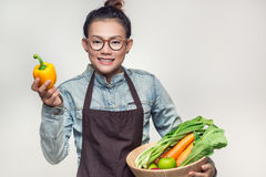 Asian women are admired. Asian woman are admired vegetables royalty free stock photo