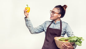 Asian women are admired. Asian woman are admired vegetables stock photo