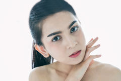 Asian women Beautiful with Clean Fresh Skin touch own face . Fac. Asian woman Beautiful with Clean Fresh Skin touch own face . Facial treatment . Cosmetology Stock Photos
