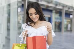 Asian women and Beautiful girl is holding shopping bags smiling Stock Image