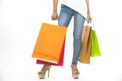 Asian women and Beautiful girl is holding shopping bags and usin stock photos