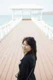 Asian women black jacket Stock Photo