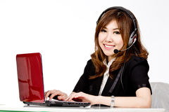 Asian women call center with phone headset Stock Photos