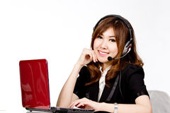Asian women call center with phone headset Stock Photo