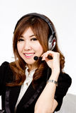 Asian women call center with phone headset Royalty Free Stock Photography