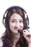 Asian women call center with phone headset Stock Photography