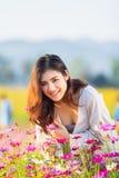 Asian women at cosmos garden. Asian beautiful woman at cosmos garden Stock Photos