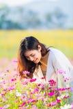 Asian women at cosmos garden. Asian beautiful woman at cosmos garden Stock Photo