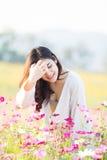 Asian women at cosmos garden. Asian beautiful woman at cosmos garden Royalty Free Stock Images