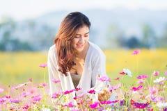 Asian women at cosmos garden. Asian beautiful woman at cosmos garden Royalty Free Stock Photos