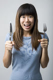 Asian women on diet Royalty Free Stock Images