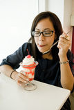 Asian women eating ice cream Stock Image