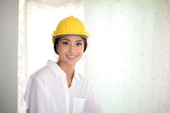 Asian women engineering smiling and working at office. Asian woman engineering smiling and working office Stock Photos