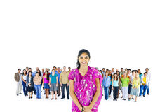 Asian Women in fornt of crowd Royalty Free Stock Photography