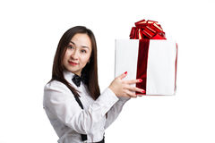 Asian women with gift box Royalty Free Stock Photography