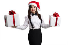 Asian women with gift box Stock Photos