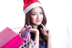 Asian women on holding a lot of shopping bag Royalty Free Stock Photos