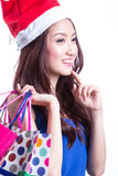 Asian women on holding a lot of shopping bag Stock Photos