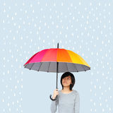 Asian women holding umbrella Royalty Free Stock Photos