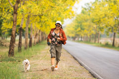 Asian women jogging with dog. Asian woman enjoy jogging outdoor with dog with beautiful yellow flowers background stock image