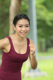 Asian women are jogging Royalty Free Stock Images
