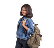 Asian women with luggage for backpacking on white background Royalty Free Stock Image