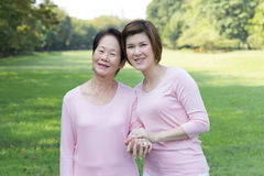 Asian women in the park stock photo