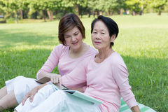Asian women in the park royalty free stock image