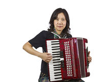 Asian women playing Accordion Royalty Free Stock Photos