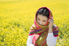 Asian women in flower Royalty Free Stock Photography