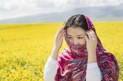 Asian women in flower Stock Photo