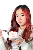Asian women red long hair in modern fashion Royalty Free Stock Images