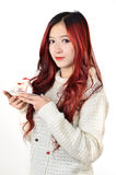 Asian women red long hair in modern fashion Royalty Free Stock Image