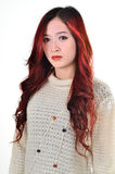 Asian women red long hair in modern fashion stock image