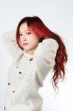 Asian women red long hair in modern fashion Royalty Free Stock Photos