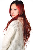 Asian women red long hair in modern fashion Stock Photos