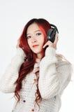 Asian women red long hair in modern fashion Stock Photos