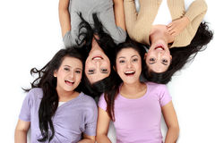 Asian women relaxing smiling lying on the floor Royalty Free Stock Photography