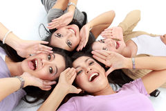Asian women relaxing smiling lying on the floor Royalty Free Stock Images