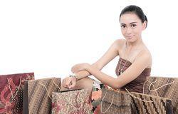 Asian women with shopping bags Royalty Free Stock Image