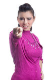 Asian women show anger. Asian woman show anger. With the finger-pointing Stock Photos