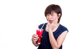 Asian women suffers toothache pain after drinking ice cold drink Stock Photos