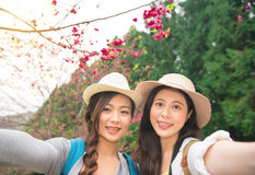 Asian women taking self portrait selfie photo. On japan travel. Happy tourist girlfriends in cherry-blossom park sightseeing pink sakura flower and take photo Royalty Free Stock Photography