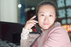 Asian women with telephone Stock Images
