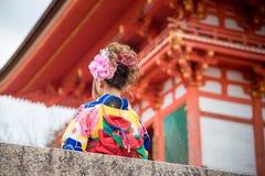 Asian women in traditional japanese kimonos at Kiyomizu dera Royalty Free Stock Photography